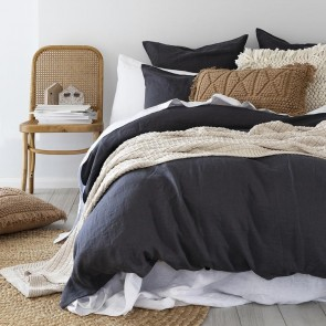 100% French Flax Linen Duvet Cover Set by Bambury - Charcoal