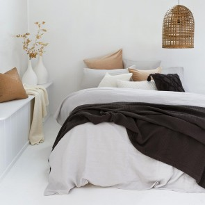 100% French Flax Linen Duvet Cover Set by Bambury - Silver