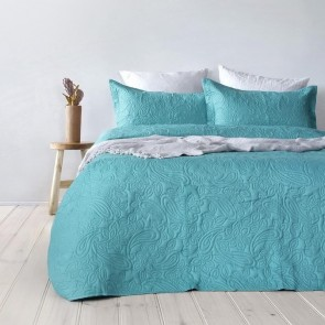 Paisley Embossed Coverlet Set by Bambury - Peacock