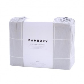 Carrington Flannelette Sheet Set by Bambury - Silver
