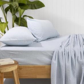Spot Flannelette Sheet Set by Bambury - Steel Blue