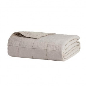 French Flax Linen Quilted Blanket by Bambury - Pebble