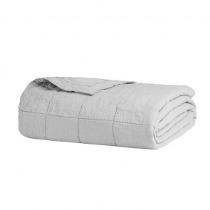 French Flax Linen Quilted Blanket by Bambury - Silver