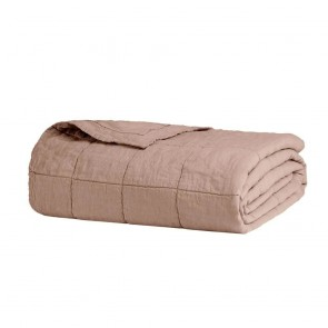 French Flax Linen Quilted Blanket by Bambury - Tea Rose