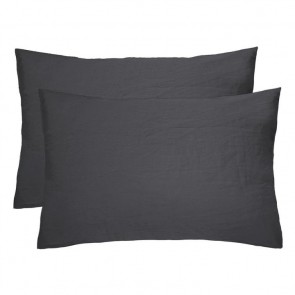 100% French Flax Linen Pillowcase Pair by Bambury - Charcoal