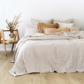 100% French Flax Linen Duvet Cover Set by Bambury - Pebble