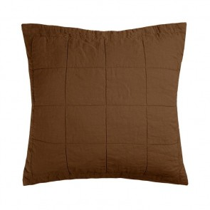 French Flax Linen Quilted Euro Pillowcase Each - Hazel
