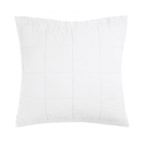 French Flax Linen Quilted Euro Pillowcase Each - Ivory