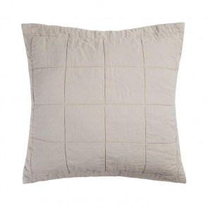 French Flax Linen Quilted Euro Pillowcase Each - Pebble