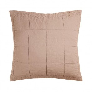 French Flax Linen Quilted Euro Pillowcase Each - Tea Rose