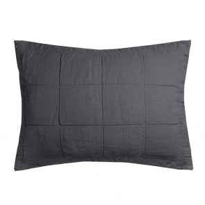French Flax Linen Quilted Pillowcase Each by Bambury - Charcoal