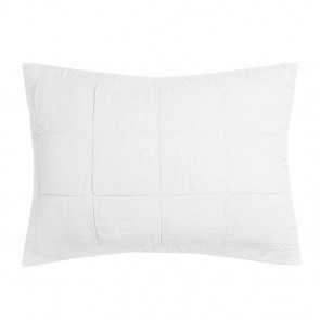French Flax Linen Quilted Pillowcase Each by Bambury - Ivory
