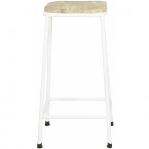 Flinders Square Barstool Natural/White