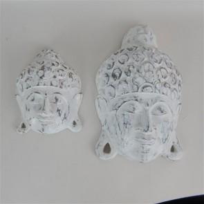 Whitewash Buddha Heads Set of 2