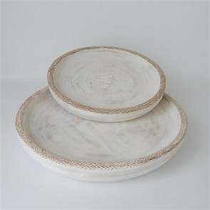 Lombok Wooden Trays Set of 2 Whitewash