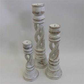 Tornado Candlesticks Set of 3 - White