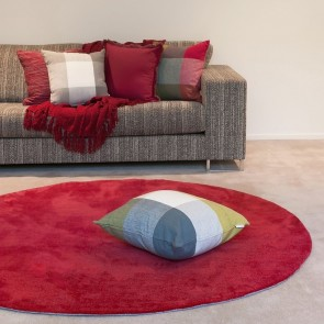 Chicago Deep Red Round Floor Rug
