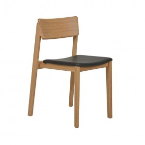 Sketch Poise Dining Chair - Black Leather/Light Oak