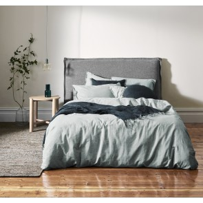 Chambray Fringe Duvet Cover by Aura - Mineral