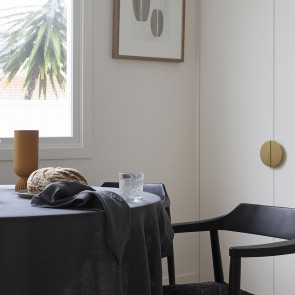 Charcoal French Linen Tablecloth by Bambury