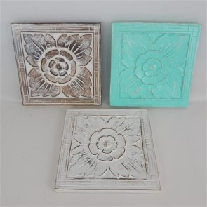 Carved Square Panels - Set of 3