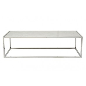Elle Cube Gloss Marble Coffee Table - White/Stainless Steel