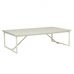 Elle Trestle Marble Coffee Table - White/White Marble