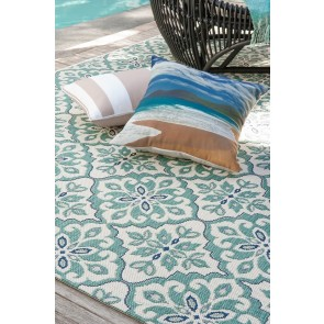 Limon Hokitika In & Outdoor Hauroko - Cream-Teal Floor Rug