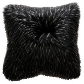 Heirloom Ebony Plume Faux Fur Square Cushion