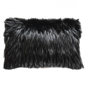 Heirloom Ebony Plume Faux Fur Long Cushion