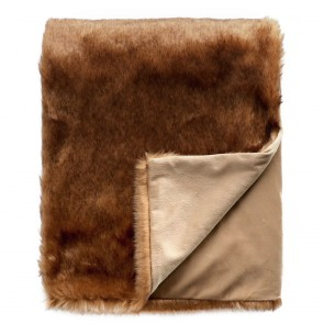 Limon Elmwood Faux Fur Throw - Rusty Bear