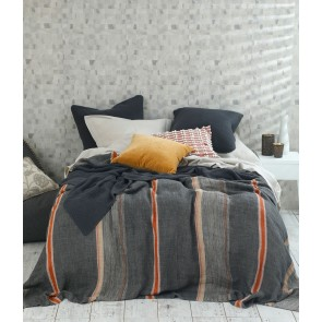 100% Linen Faro Throw by MM Linen - Charcoal