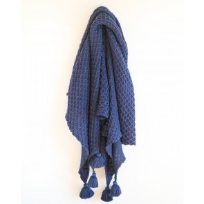 Bijou Knitted Throw True Blue