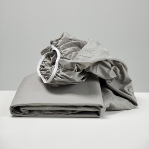 Smoke Grey Cotton Fitted Sheet