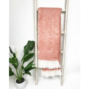 Wool Blend Throw - Dusty Pink