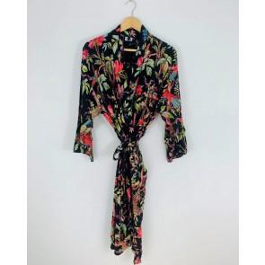 Paradise Diamond Kimono Robe - Black