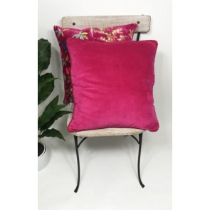 Hot Pink Velvet Lace Cushion