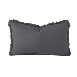 Linen Long Cushion by Bambury - Charcoal