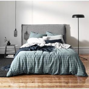 French Stripe Organic Cotton Duvet Cover by Aura - Atlantic