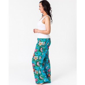 Lounge Pants Spring Bloom Turquoise