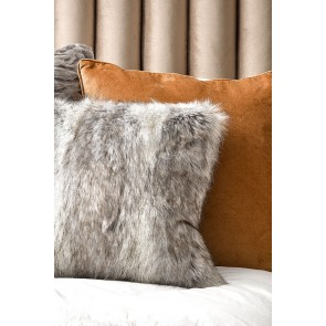 Heirloom Grey Coyote Faux Fur Square Cushion