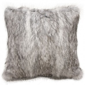 Heirloom Grey Coyote Faux Fur Square Cushion