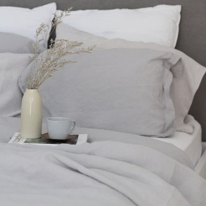 100% Linen Duvet Cover Set Dove Grey