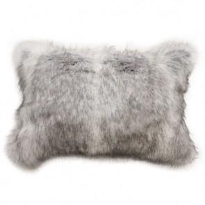 Heirloom Grey Coyote Faux Fur Long Cushion