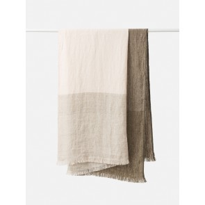 Hugo 100% Linen Throw - Pickle/Chai