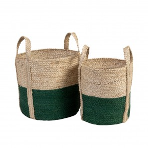 Jute Basket Green/Natural - Set of 2