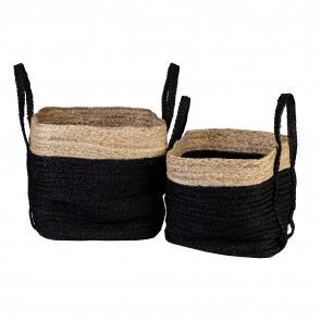 Black/Natural Jute Baskets Set of 2