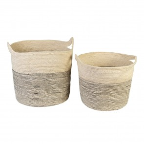 Jute Baskets Set of 2 Natural/White