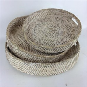 Lombok Round Trays Set of 3 Whitewash