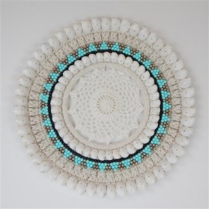 Valia Macrame Circle Aqua/White Wall Decor